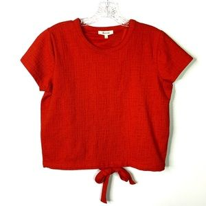 Madewell Red Verse Tie Back Top Sz S B-11